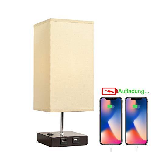 Lámpara de mesa y de noche con 2 puertos USB.