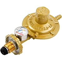 UKCOCO Regulador de gas propano con manómetro Medidor de nivel de manómetro para barbacoa Camping Cookers Caravana fontanero (amarillo)