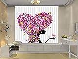 HONGYZCL Cortina De Impresión Digital 3D Rosa En Forma De Corazón Adecuada para La Sala De Estar del Dormitorio En Casa,300Cm(W)×270Cm(H)