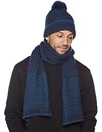 Unisex Adult Cross Design Knitted Warm Winter Hat & Scarf Set