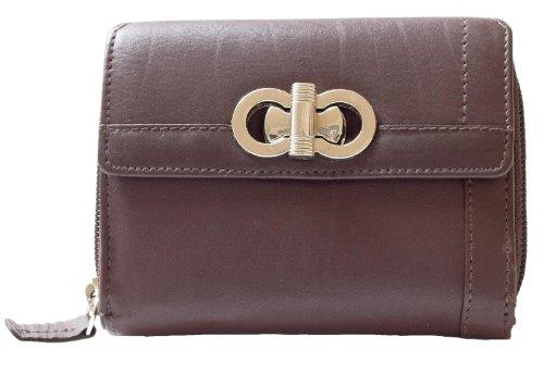 Damen Schöne Qualität Braunes Leder Portemonnaie - Geldbörse HMT