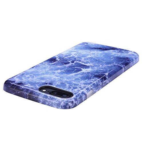 Cover iPhone 6/6S Plus marmo nero silicone Guscio morbido DECHYI TPU silicone e IMD disegno marmo Custodia serie -Nebulosa nera Onde blu