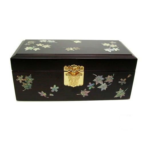 Boîte à bijoux en bois avec miroir, laque fait main bijoux en bois, mère de perle cadeau, érable.