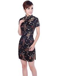 JTC Femme Robe Courte Chinois Cheongsam Motif de Paon et Dragon en Brocart-noir