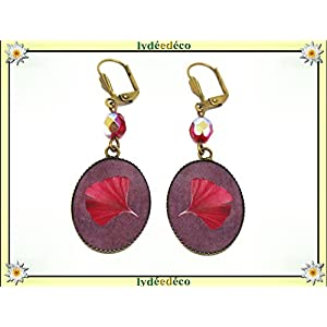 Retro earrings GINKO tree Japan red purple resin brass bronze beads 18x25mm personalized gift noel girlfriend mum birthday wedding guest valentine saint mistress thank you mother's day