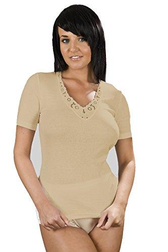 Maillot Manches Courtes Ultra Confort Pour Femme 100% Coton, Diverses Couleurs & Tailles Beige