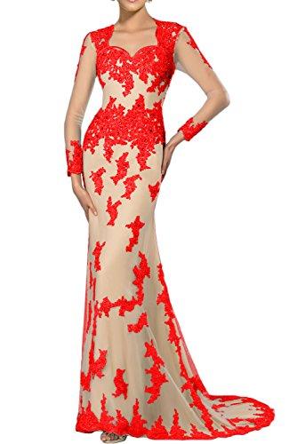 Gorgeous Bride Fashion Lang Ärmel Meerjungfrau Satin Tuell Spitze Schleppe Abendkleider Lang Festkleider Ballkleider Rot