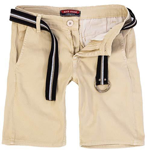 Rock Creek Herren Chino Shorts Hose Kurz Chinoshorts Inkl Gürtel Männer Sommer Bermuda Stretch Rc-2133 32 Sand