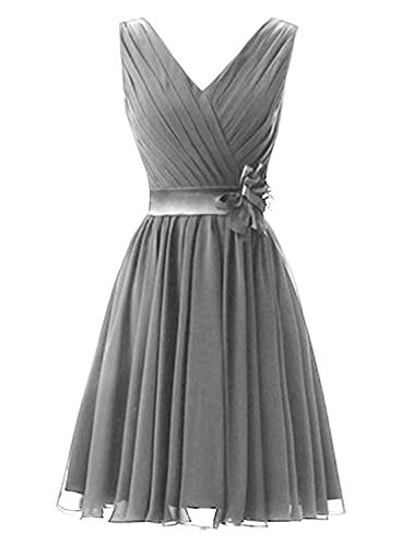 Azbro Women's Elegant Ruffled Sleeveless Cocktail Bridesmaid Dress Grey