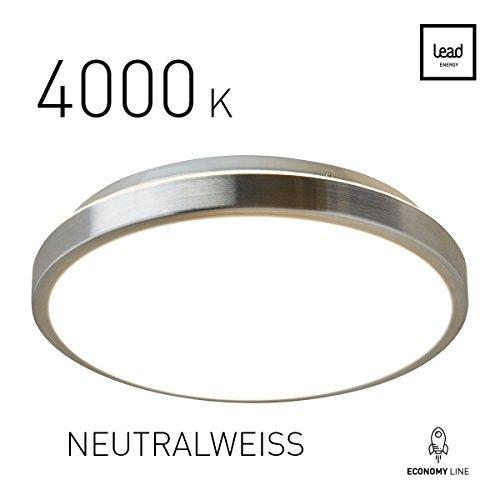 LED Deckenleuchte rund Wohnzimmer Neutralweiß 4000 K | LED-Deckenlampe Ø 30cm | 25W | Alu-matt