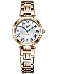 Rotary Quartz-Armbanduhr für Damen, LB90189/41, Analog-Ziffernblatt aus Perlmutt, rotgoldfarbenes Armband aus Edelstahl