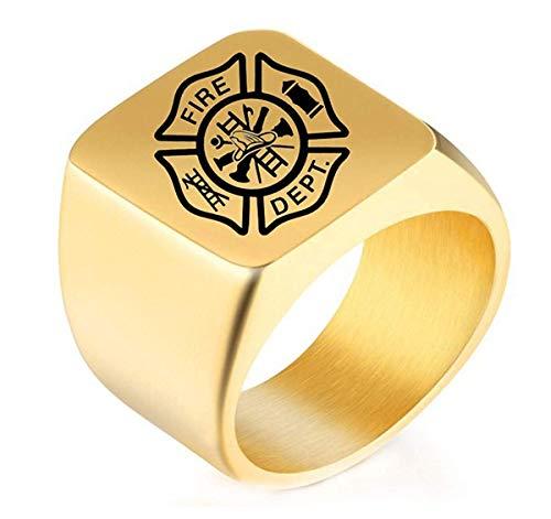 DIBMXC Kühle personifizierte US Fireman Logo Edelstahl Ringe für Herren