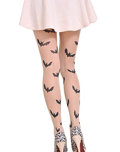 Kanggest, calzini trasparenti da donna, teschio gambaletti ginocchio per halloween accessori, 1unità (teschio). 70cm pipistrello