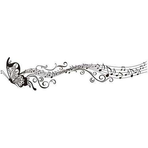Volador Elegante Música Mariposa Patrón Vinilo Vinilos decorativos Arte Pegatina de pared Moda Diseño DIY Desmontable Decorativo para niños Cuarto de niños, sitio del bebé, Dormitorio, 35cm * 160cm