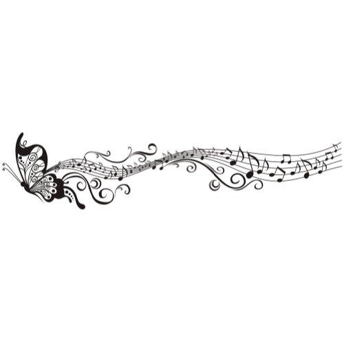 Volador Elegante Música Mariposa Patrón Vinilo Vinilos decorativos Arte Pegatina de pared Moda Diseño DIY Desmontable Decorativo para niños Cuarto de niños, sitio del bebé, Dormitorio, 35cm * 160cm (Negro)