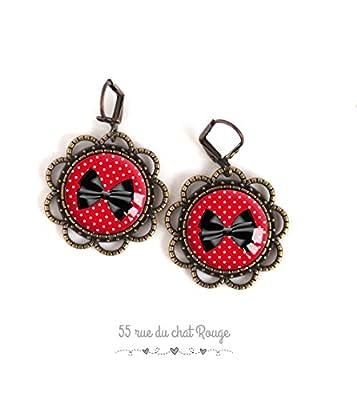 Boucles d'oreilles cabochon, Noeud papillon, petit pois rouge, pin up, année 60