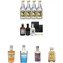 Gin Probierset 1 x Monkey 5 cl, 1 x The Duke 5 cl, 1 x Black Gin 5 cl + 4 x Thomas Henry Tonic Water 0,2 Liter+ 2 Schieferuntersetzer + Boudier Saffron Frankreich Gin 0,05 Liter + Jodhpur Premium London Dry Gin England 0,05 Liter MINI + Applaus Gin Stuttg