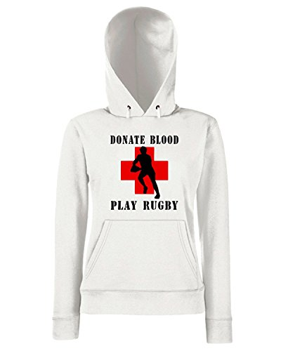 T-Shirtshock - Sweats a capuche Femme TRUG0006 donate blood play rugby logo Blanc