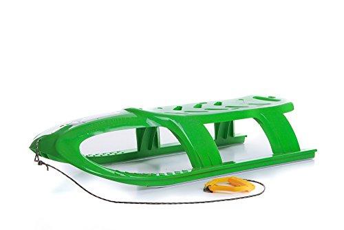 Schlitten Kinderschlitten Rodel aus Kunststoff Zugseil Metallkufen Bullet 3 Farben (Grün)