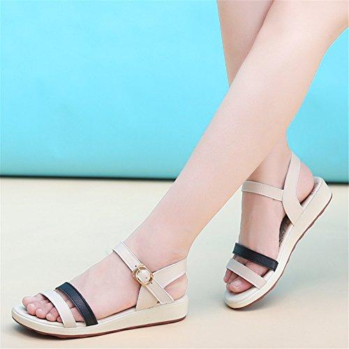 Damen Sandalen, vorne offener nippel weichen Boden Sandalen weiblichen flacher Boden Schwarz