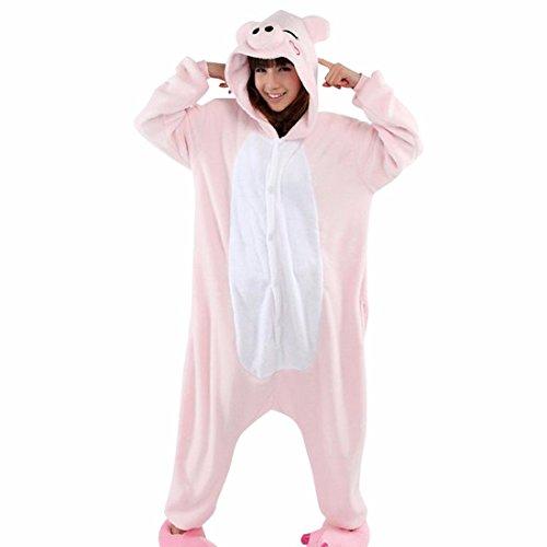 Unisex Fumetto Adulto Animale Kigurumi Caldo Pigiama Morbido Cosplay Pigiameria Costume Maiale Rosa