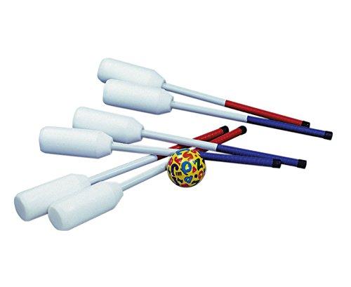 Unbekannt Ball-Bounce Set mit 6 Schlägern (je 3 x rot/blau) und 1 Ball - Hockey Ballsport Ballspiel Schulunterricht Sportunterricht Sport Kindergarten Bewegung Outdoor