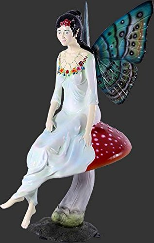 Fée assise sur un champignon avec languettes de fixation au sol (Métal) 123 cm picorent pour l'extérieur en fibre de verre haute qualité plastique (GFK)