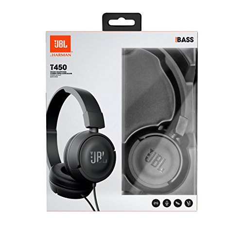 JBL T450 On-Ear Kopfhörer Ohraufliegend Leicht mit 1-Tasten-Fernbedienung und Mikrofon Kompatibel mit Apple und Android Geräten – Schwarz - 10