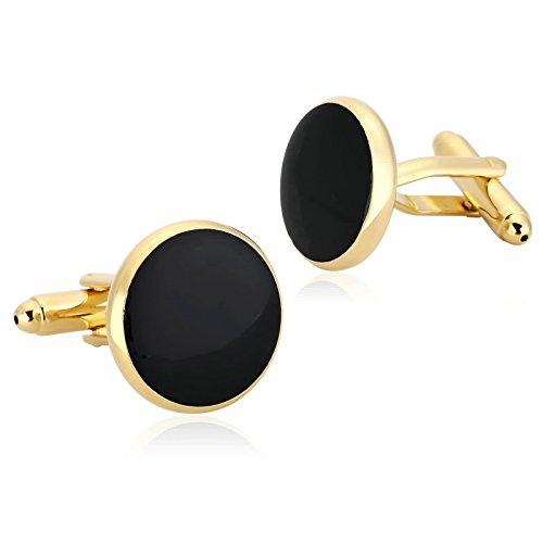 Epinki Mode Herren Edelstahl Manschettenknöpfe Gold Schwarz Poliert Rund Form Design Manschetten Knöpfe