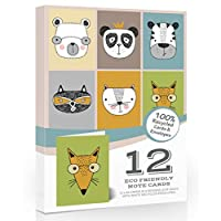 12 x Blank Note Cards & Envelopes by Olivia Samuel. 100% Eco Friendly Recycled Cards and Envelopes. Cute Animal Designs.