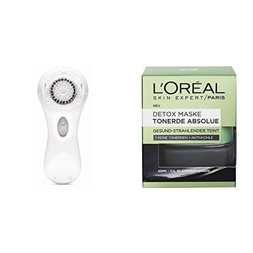 Clarisonic Elektrische Gesichtsreinigungsbürste Mia 2 White, 1 Stück + L'Oréal Paris Tonerde Absolue Detox Maske, 1er Pack (1 x 50 ml)