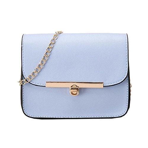 BZLine® Frauen Messenger Umhängetasche Damen Small Clutch Kette Crossbody Taschen Tote Blau