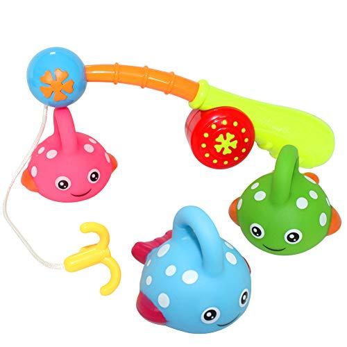 HERSITY 4 Stück Angelspiel Fisch mit Angelrute Badespielzeug Baby Wasserspielzeug Wasserspaß Spielzeug Geschenkset für Kinder in Badewanne Badezimmer Schwimmbad - Für Jungen Kid Badezimmer-sets