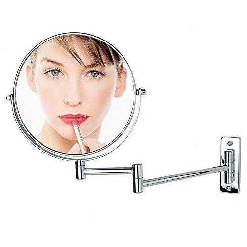 ALHAKIN 1/10X Miroir Mural 8 Pouce Miroir Salle De Bain Chromé Miroir