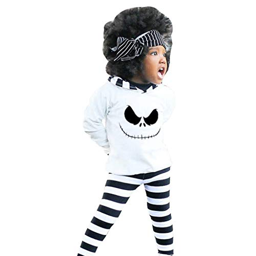Kinder Langarm Halloween Nightmare Elf Hooded Top Streifen Hosen Set Kleinkind Baby Boy Girl Hoodie Shirt Kostüm Outfits Set (Werwolf Hoodie Kostüm)