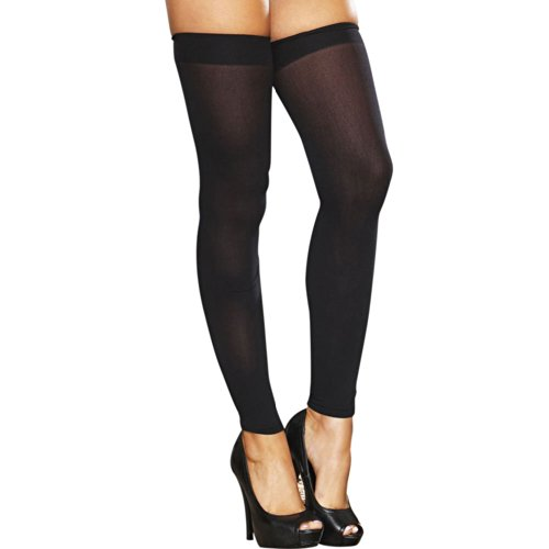 Hustler Women's Footless Sheer Thigh High, Black, One Size -