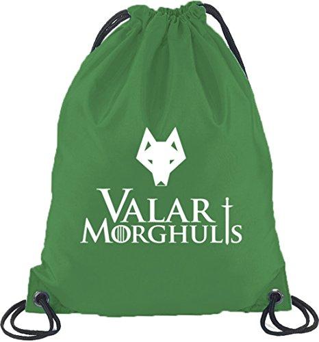 Shirtstreet24, Valar Moghulis Wolf, Turnbeutel Rucksack Sport Beutel Kelly Green