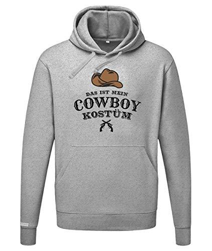 Jayess Herren Hoodie Fasching & Karneval Das ist Mein Cowboy Kostüm - in Grau Meliert Gr. M