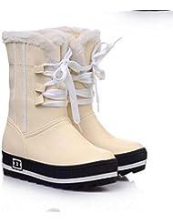 Bottes de neige 4cm Hide Heel Knight Boots Femmes Round Toe Pu Chaussures en cuir Bottes mi-mollet Chaussures Casual Chaussures sexy Taille de l'Europe 32-42