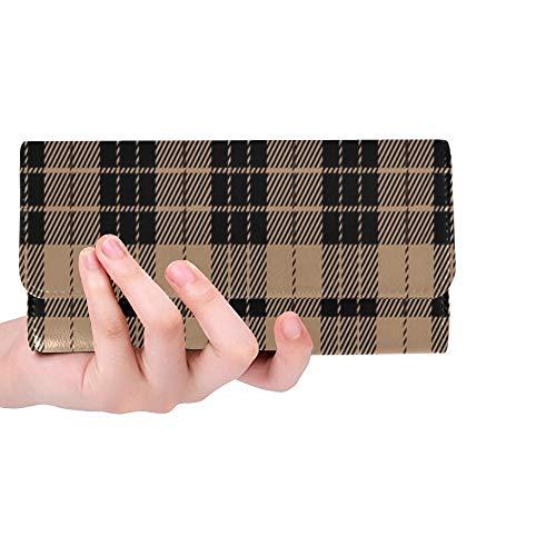 Schottische Tartan-plaid (Einzigartige benutzerdefinierte schwarz Beige Tartan Plaid schottischen Frauen Trifold Wallet Lange Geldbörse Kreditkarteninhaber Fall Handtasche)