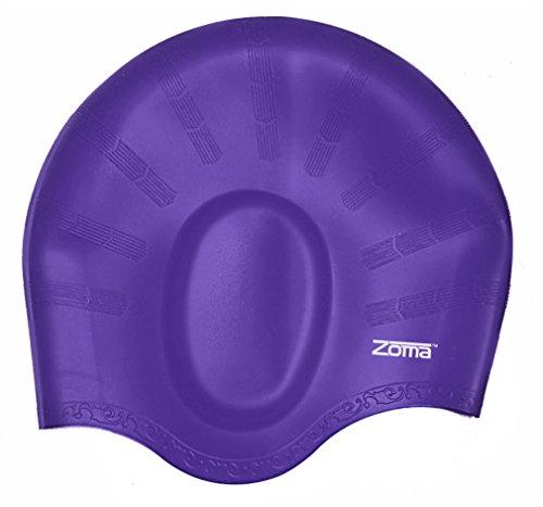 Badekappe für Herren und Damen, aus Silikon - für langes, fülliges oder kurzes Haar - mit ergonomischen Ohrentaschen zum Schutz der Ohren - aus reißfestem Silikon - haltbarer als Latex Badekappen - für Erwachsene, ältere Kinder, Mädchen und Jungen - 100% Geldzurück-Garantie (Violett - violett)
