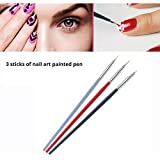 3 PZ/SET pennelli unghie gel professionali e kit dotter per unghie con punte tutte diverse strumenti per unghie pennelli per unghie Art Design Polacco Brush Pen Set