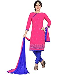 Women'S & Girl'S PC Cotton Straight & Chudidar Suit In Pink Color
