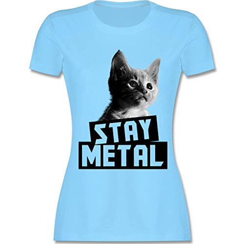 Shirtracer Metal - Stay Metal Katze - Damen T-Shirt Rundhals Hellblau