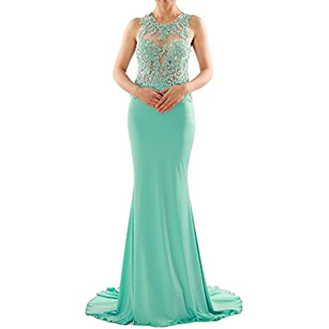 MACloth Women Mermaid Long Lace Jersey Long Prom Dress Formal Party Evening Gown (EU52, Menta)