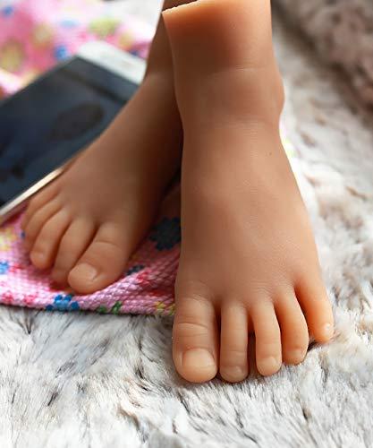 MSFLY Simulation Fuß voller Silikon gefüllt Fuß Schaufensterpuppe für Kinder Schuh Socke Display Online-Shop Einzelhandel Fotografie Requisiten 4,7 Zoll,Wheat,APair