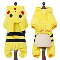 GYHC Cartoon Animal Dog Cat Costume For Small Dogs Cats Warm Pet Jumpsuit Pajamas For Clothes Puppy Clothing,Pikachu,M