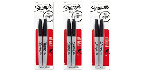 Sharpie Permanent Markers, Fine Point, Black, 3 Packs of 2- 6 total (30162PP) by Sharpie - Fine Point, 3-pack Sharpie