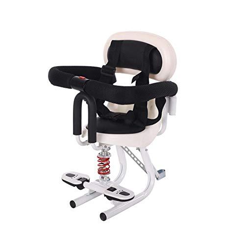 Vorne Fahrrad Elektrofahrzeug Sicherheit kleinen Schlitz Sitz Batterie Auto Roller Motorrad Kindersitz-White