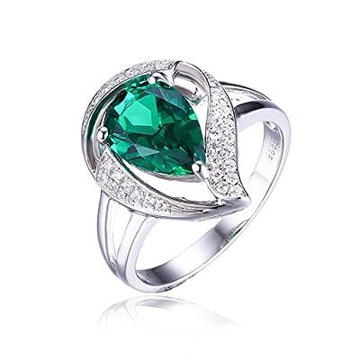 1.7ct Luxus Grün Synthetisch Nano Russischen Smaragd Damen Geschenk Silberring Ringe 925 Sterling Silber